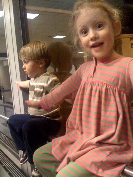 Weston and Julia at the airport